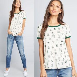 MODCLOTH Cactus Print Ringer Tee Shirt S NEW